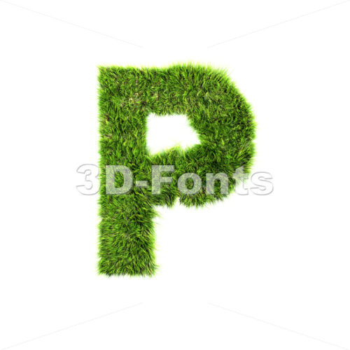 Upper-case green herb character P – Capital 3d font
