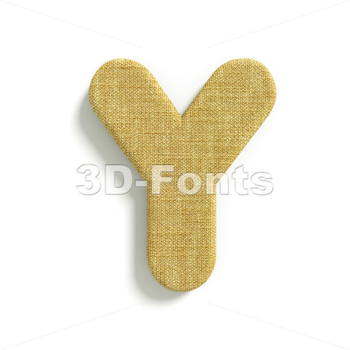 Upper-case jute font Y – Capital 3d character