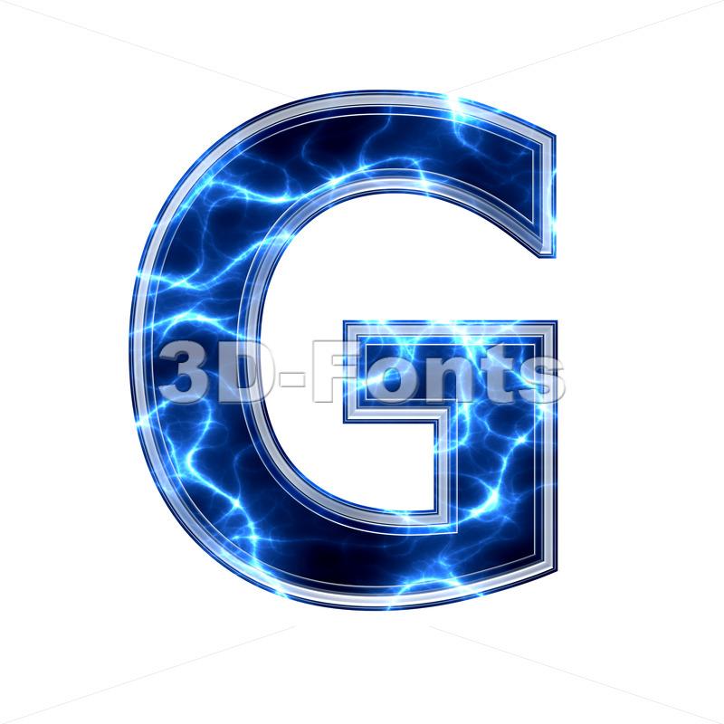 Upper-case lightning character G - Capital 3d font - 3d-fonts.com