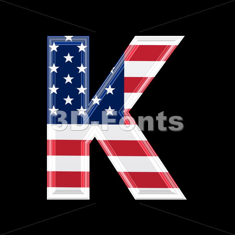 Uppercase American flag letter K – Capital 3d font