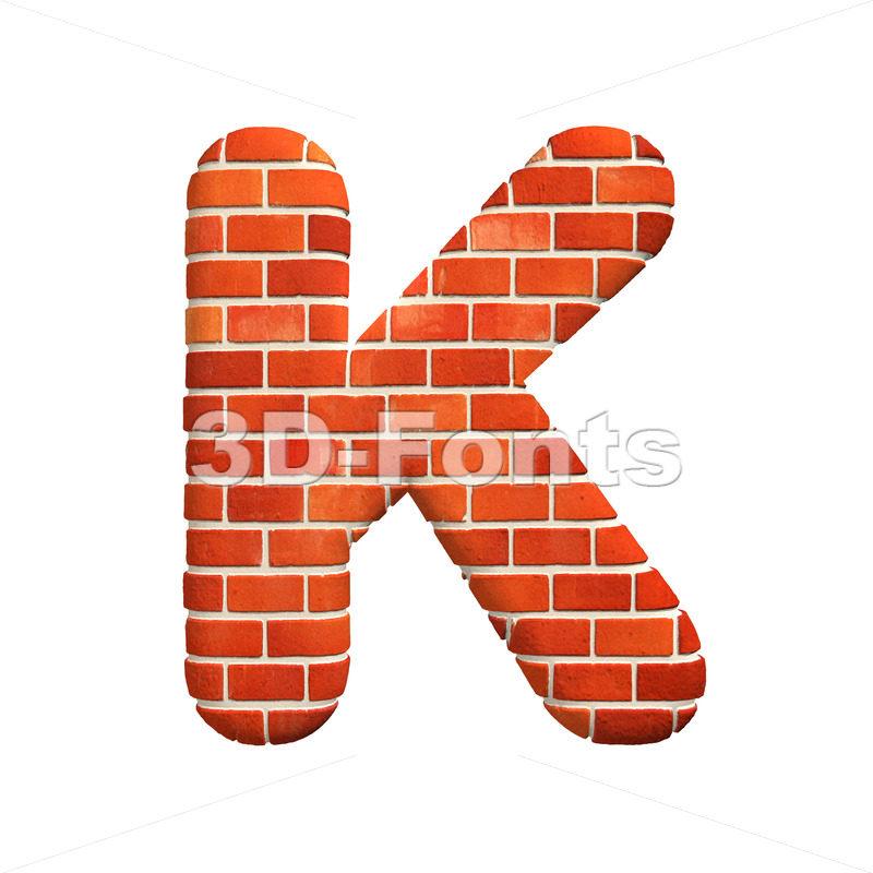 Uppercase Brick wall letter K – Capital 3d font