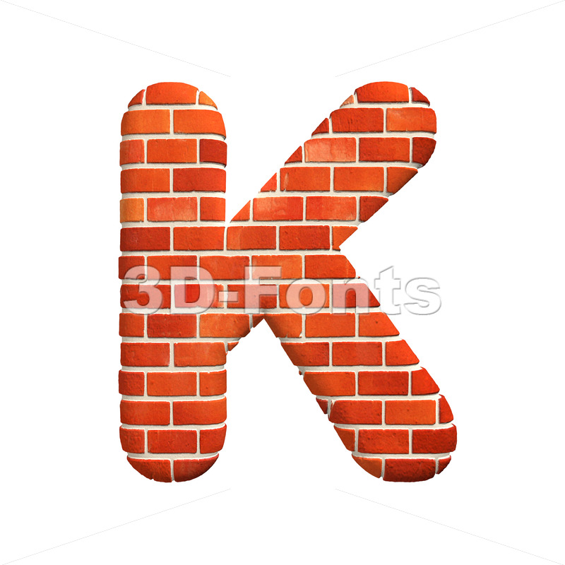 Uppercase Brick wall letter K – Capital 3d font