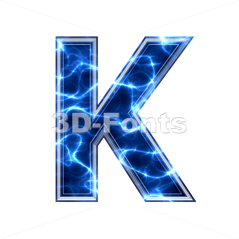 Uppercase Electric letter K - Capital 3d font - 3d-fonts.com