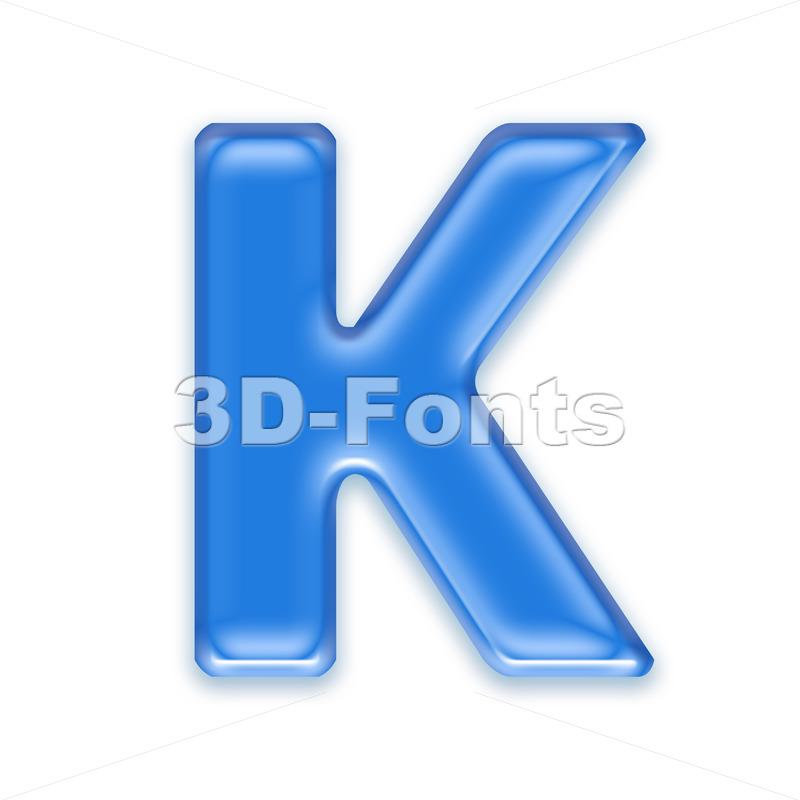 Uppercase blue jelly letter K – Capital 3d font