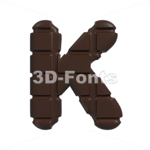 Uppercase cacao letter K – Capital 3d font