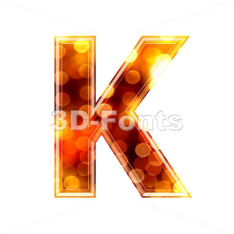 Uppercase defocus lights letter K – Capital 3d font