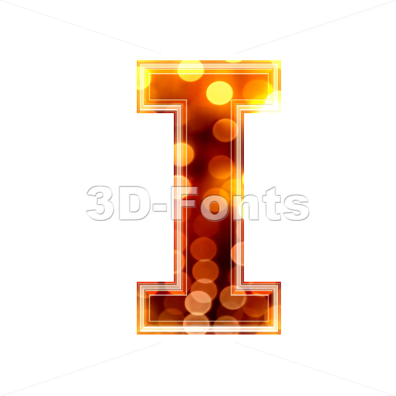 Uppercase glowing lights font I – Capital 3d letter