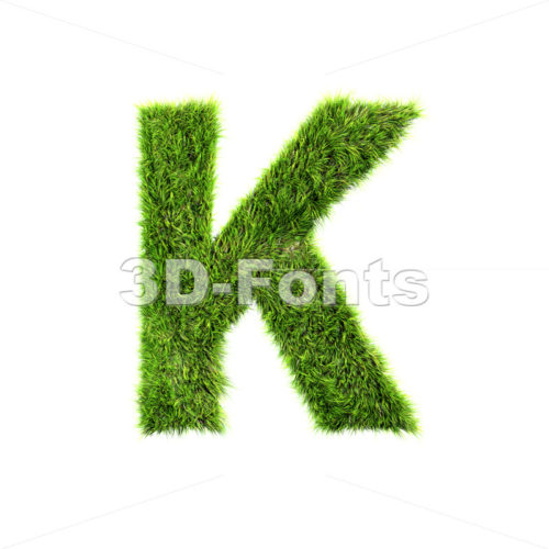 Uppercase green grass letter K – Capital 3d font