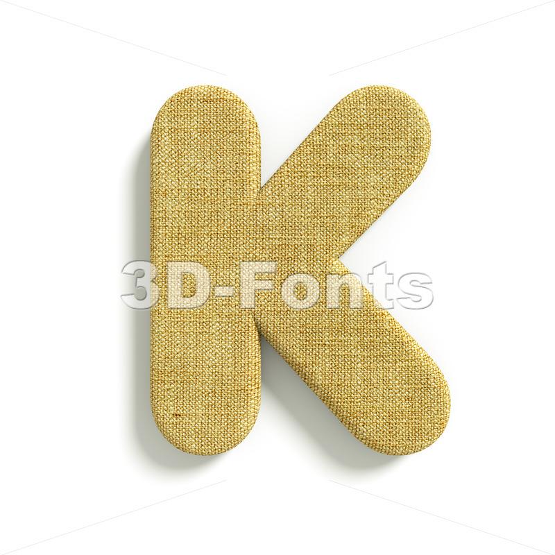 Uppercase jute letter K – Capital 3d font