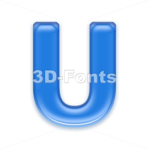 blue jelly 3d letter U – Capital 3d font
