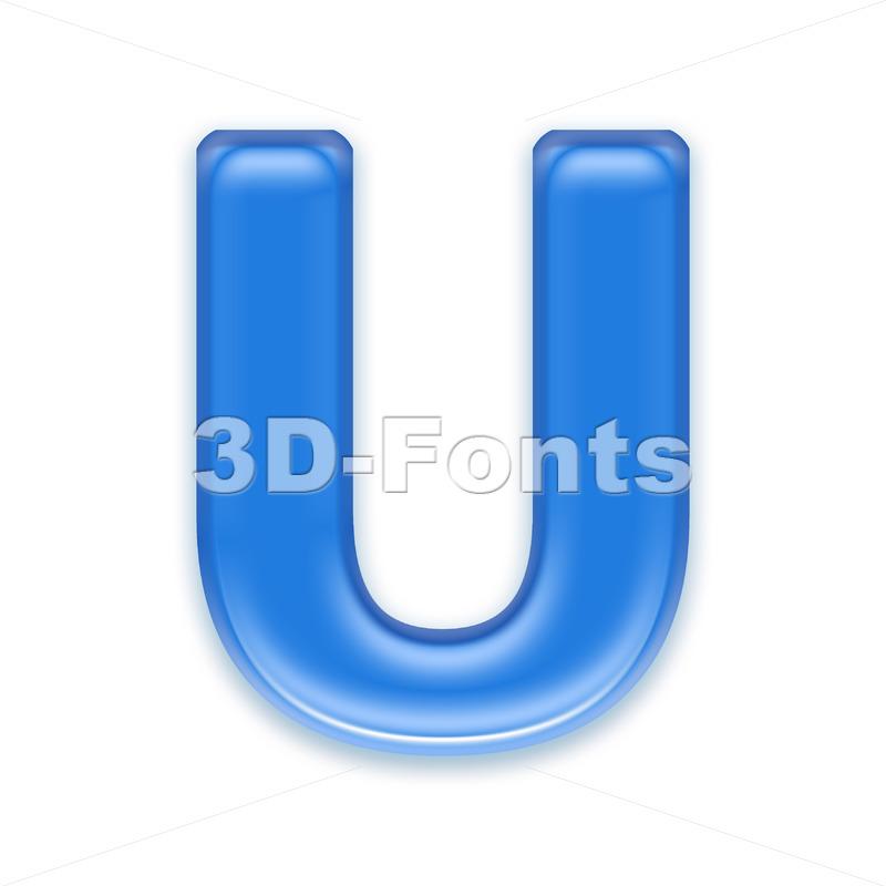 blue jelly 3d letter U – Capital 3d font