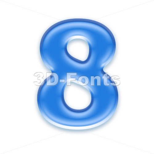 blue jelly digit 8 – 3d number