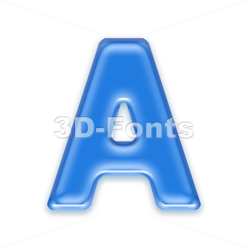 blue jelly letter A – Capital 3d character
