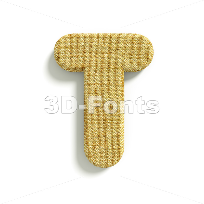 burlap character T – Uppercase 3d letter