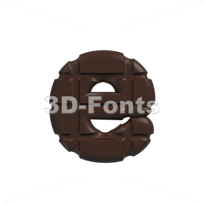 chocolate 3d character E – Lower-case 3d letter