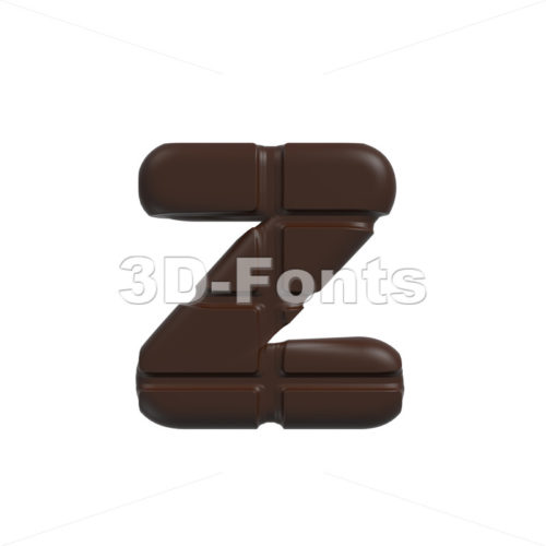 chocolate 3d character Z – Lower-case 3d font