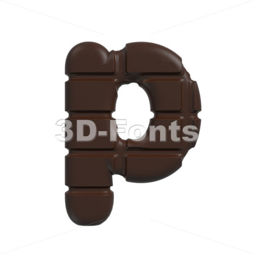 chocolate character P – Lowercase 3d font