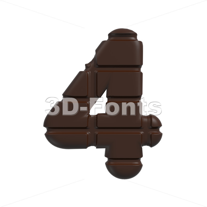 chocolate digit 4 – 3d number