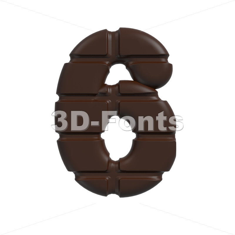 chocolate digit 6 – 3d number