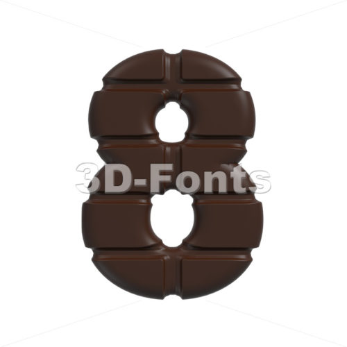 chocolate digit 8 – 3d number