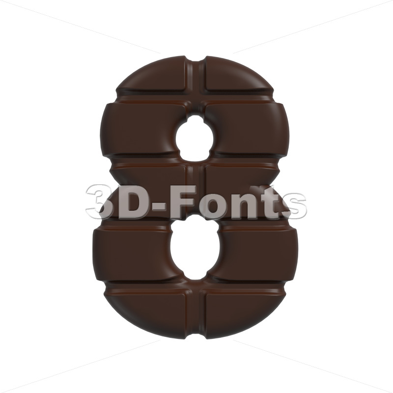 chocolate digit 8 – 3d number