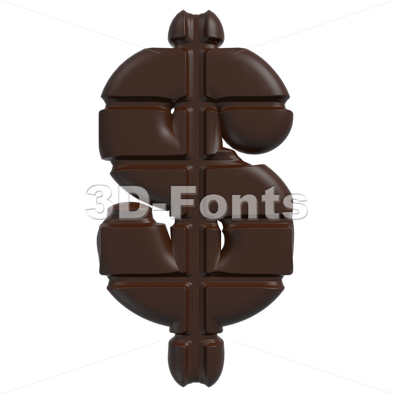 chocolate dollar currency sign – 3d money symbol