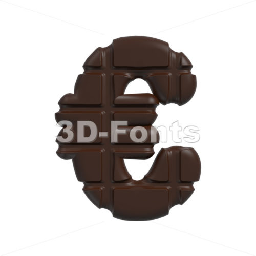 chocolate euro currency sign – 3d business symbol