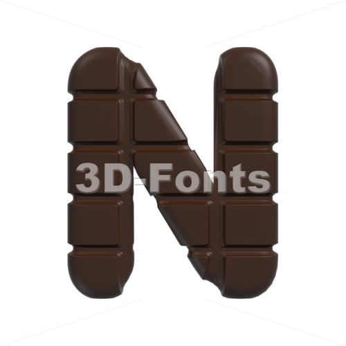 chocolate font N – Capital 3d letter