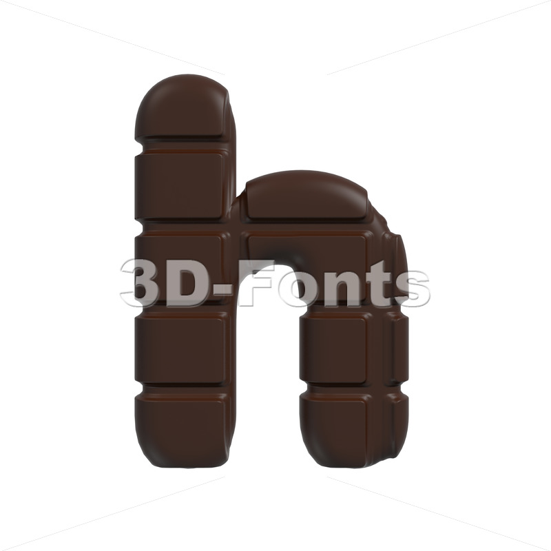 chocolate tablet font H – Lower-case 3d letter