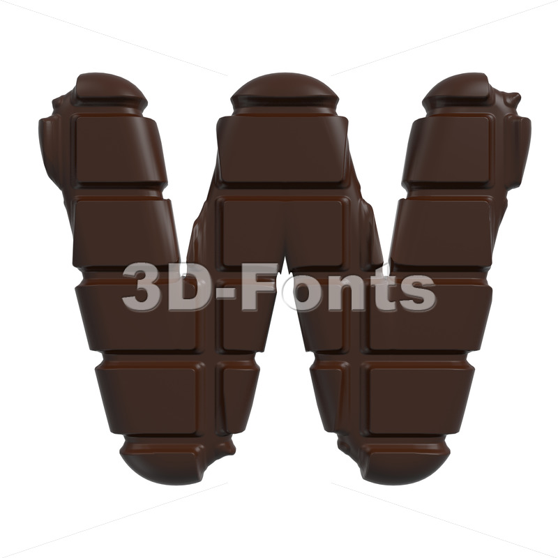 chocolate tablet font W – Capital 3d letter