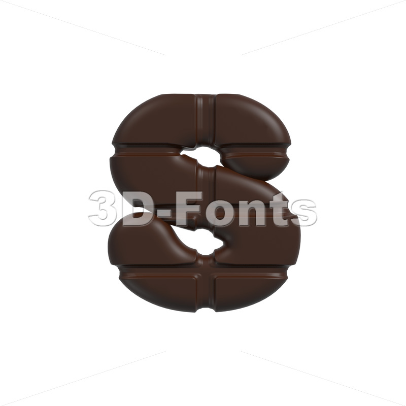chocolate tablet letter S – Lowercase 3d font