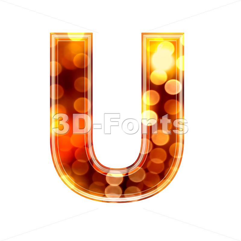 defocus lights 3d letter U – Capital 3d font