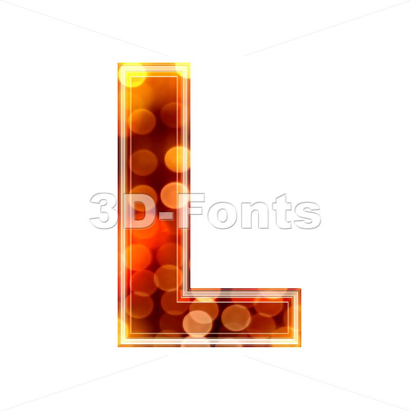 glowing lights 3d font L – Capital 3d character