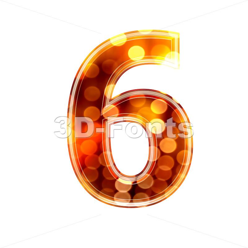 glowing lights digit 6 – 3d number