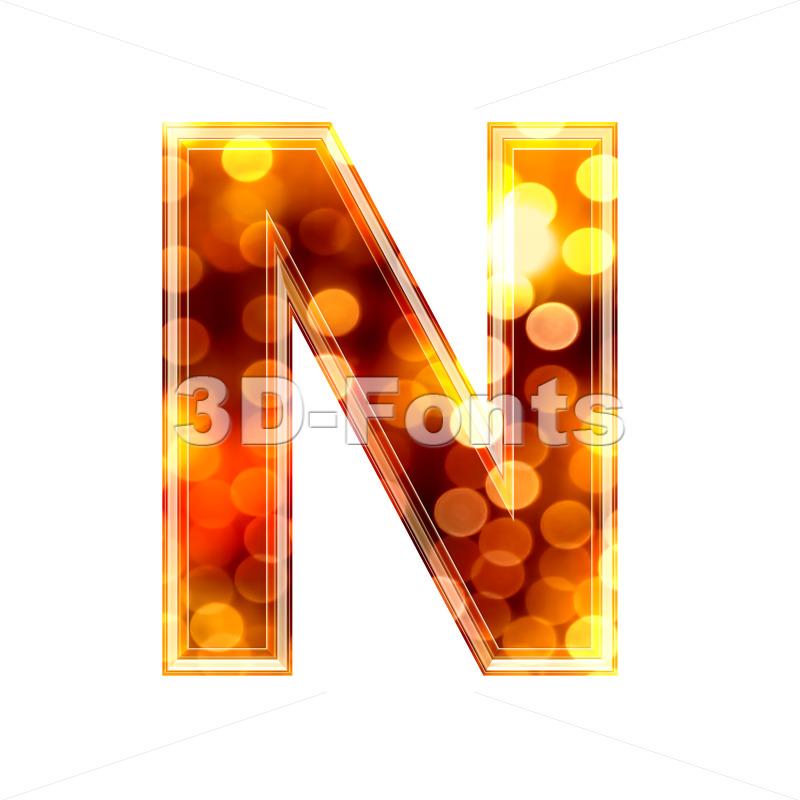 glowing lights font N – Capital 3d letter
