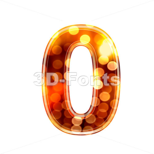 glowing lights number 0 – 3d digit