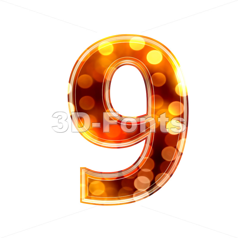glowing lights number 9 – 3d digit