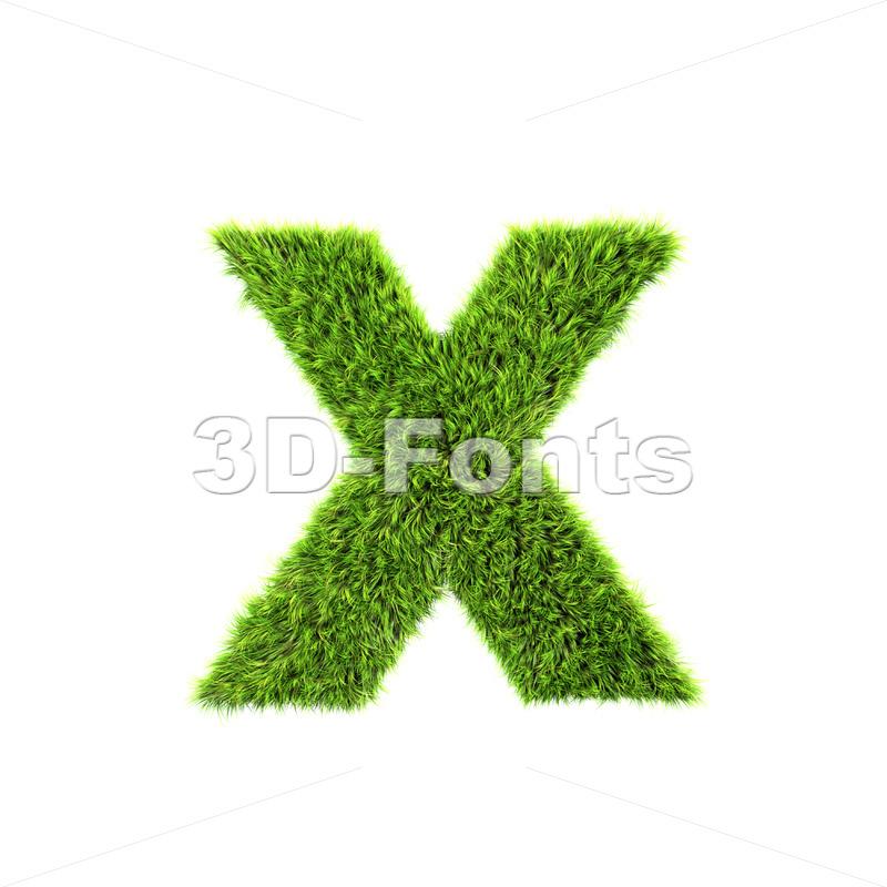green grass 3d font X – Small 3d letter