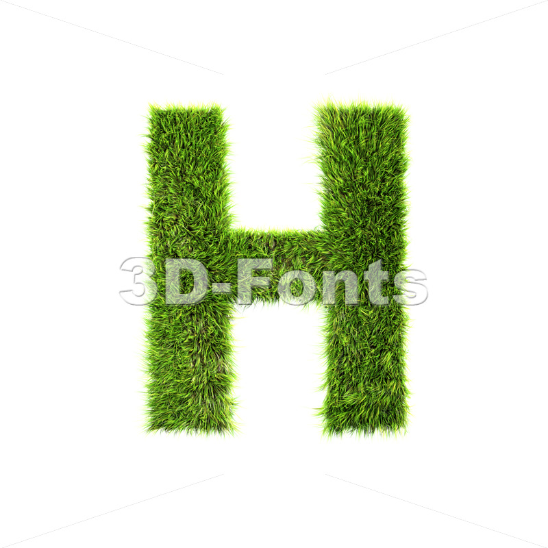green grass 3d letter H – Upper-case 3d character