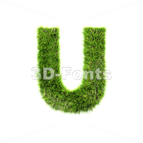 green grass 3d letter U – Capital 3d font