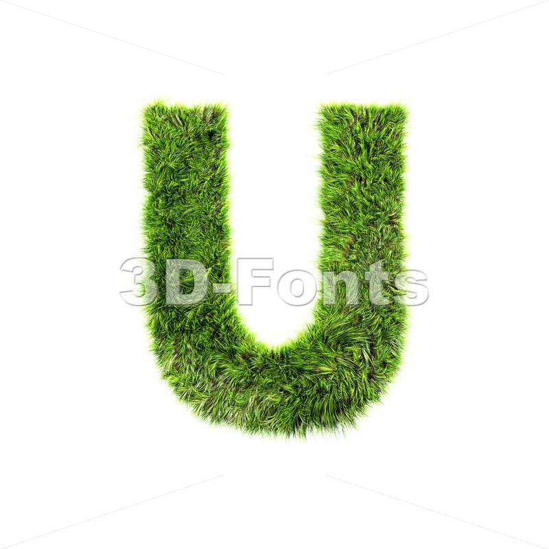 green grass 3d letter U – Capital 3d font