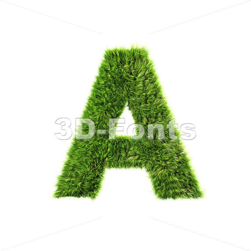 green grass letter A – Capital 3d character