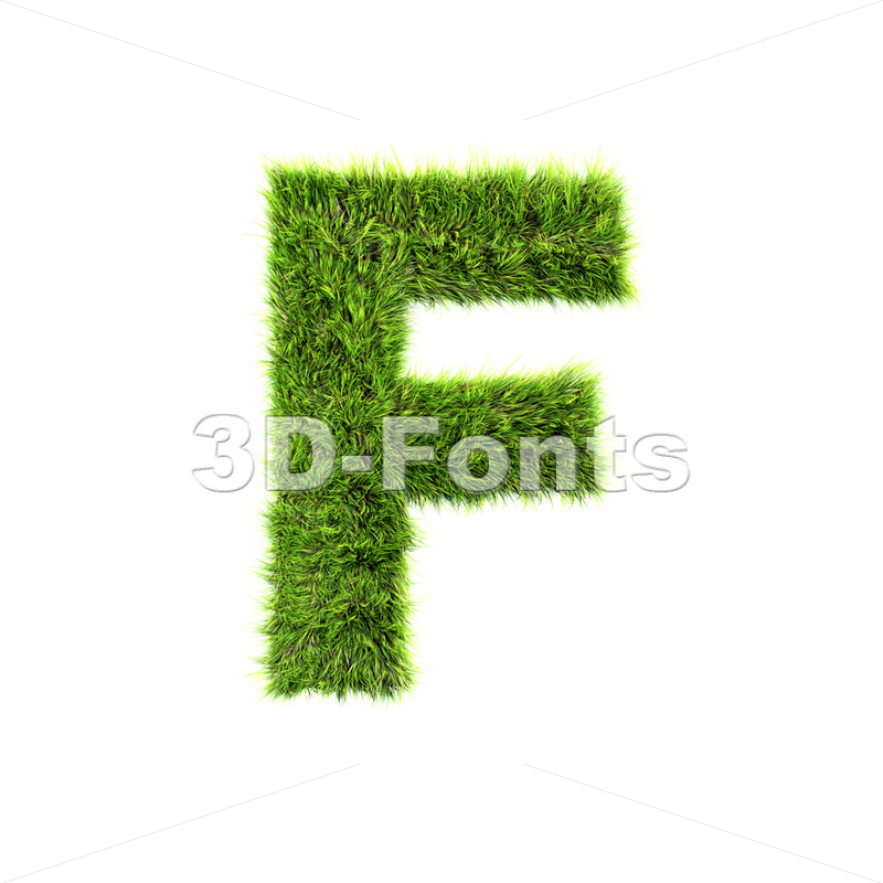 green grass letter F – Upper-case 3d font