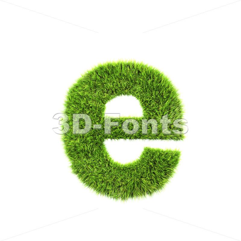 green herb 3d character E – Lower-case 3d letter