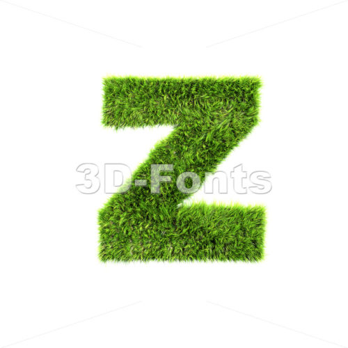 green herb 3d character Z – Lower-case 3d font