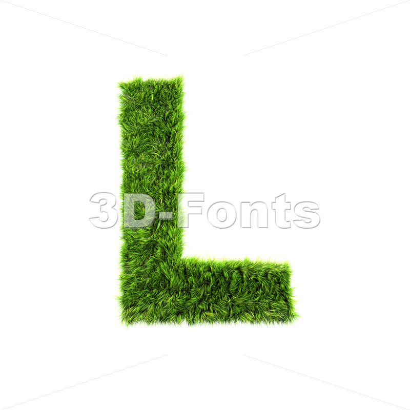 green herb 3d font L – Capital 3d character