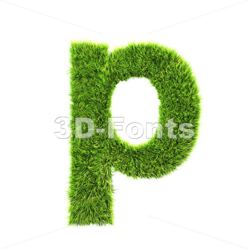 green herb character P – Lowercase 3d font