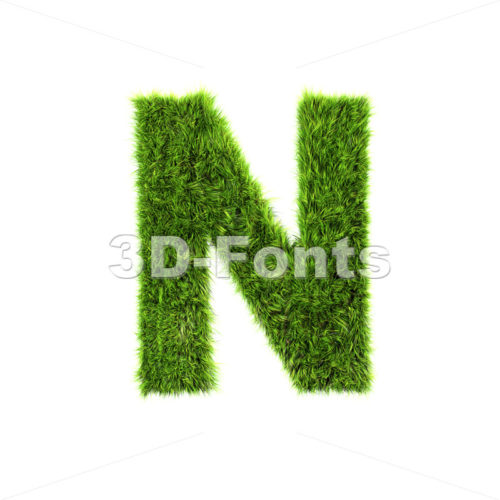 green herb font N – Capital 3d letter