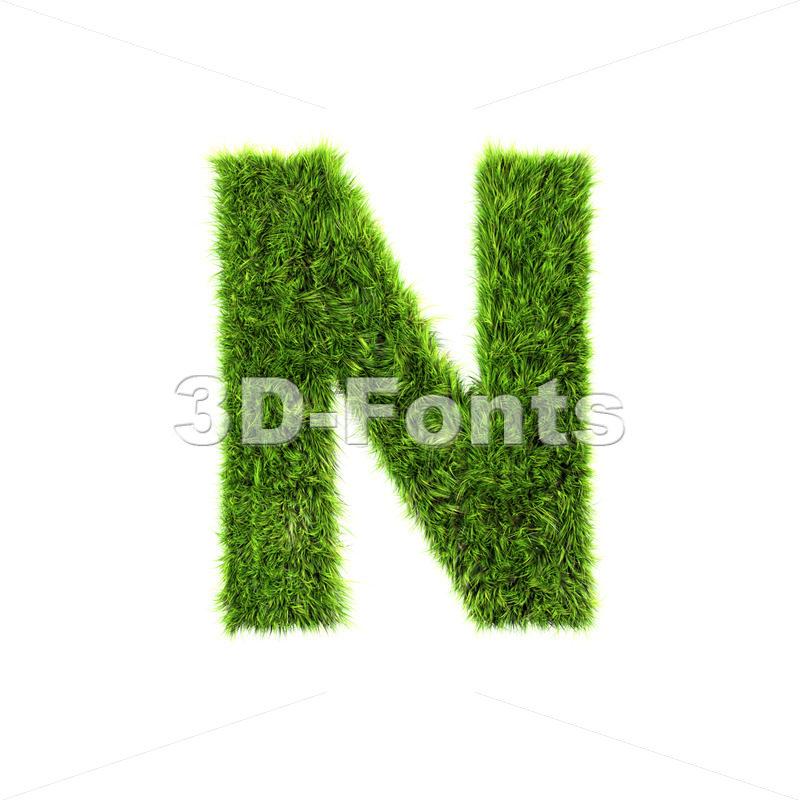 green herb font N – Capital 3d letter