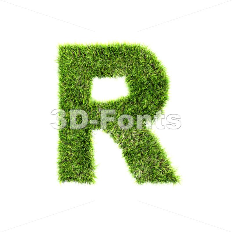 green herb letter R – Uppercase 3d font